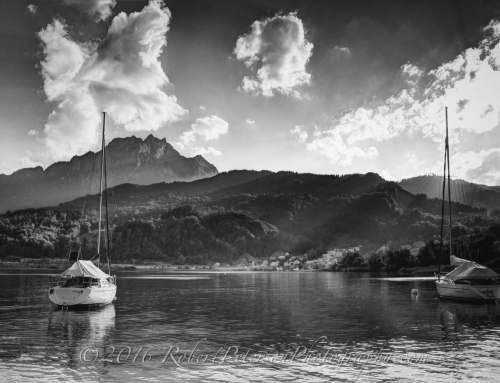 Lake Lucerne Sailboats and Mount Pilatus in Lucerne Switzerland